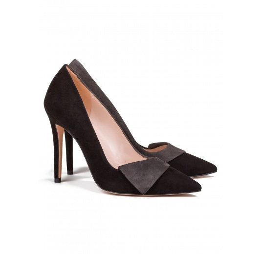 High heel pumps in black and grey suede Pura L�pez