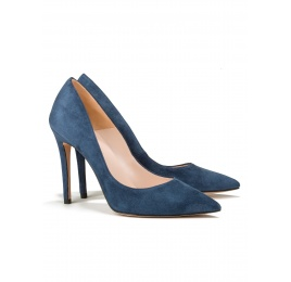 High heel pumps in ocean blue suede Pura López