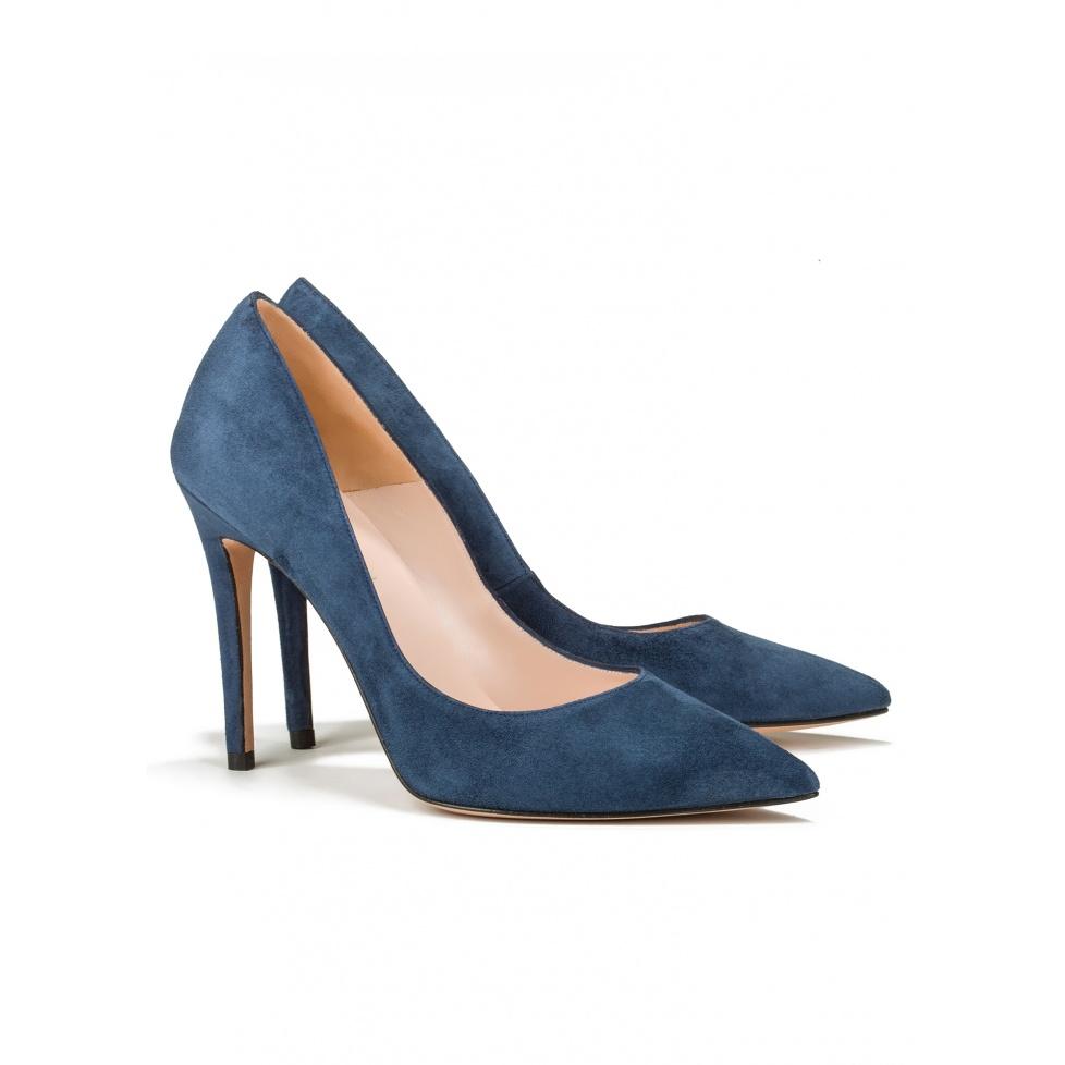 High heel pumps in ocean blue suede - online shoe store Pura Lopez