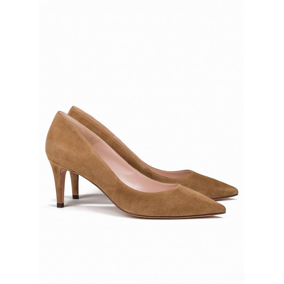 Mid heel pumps in camel suede - online shoe store Pura Lopez