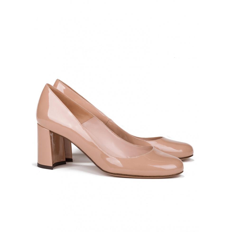 Zapatos de salón nude con medio tacón -tienda de zapatos Pura López