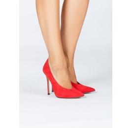 Zapatos de tacón con escote en V en ante rojo Pura López
