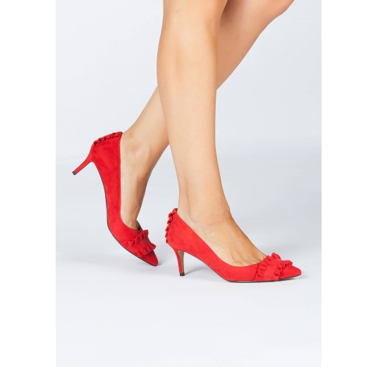 Ruffled pointy toe mid heel pumps in red suede Pura L�pez