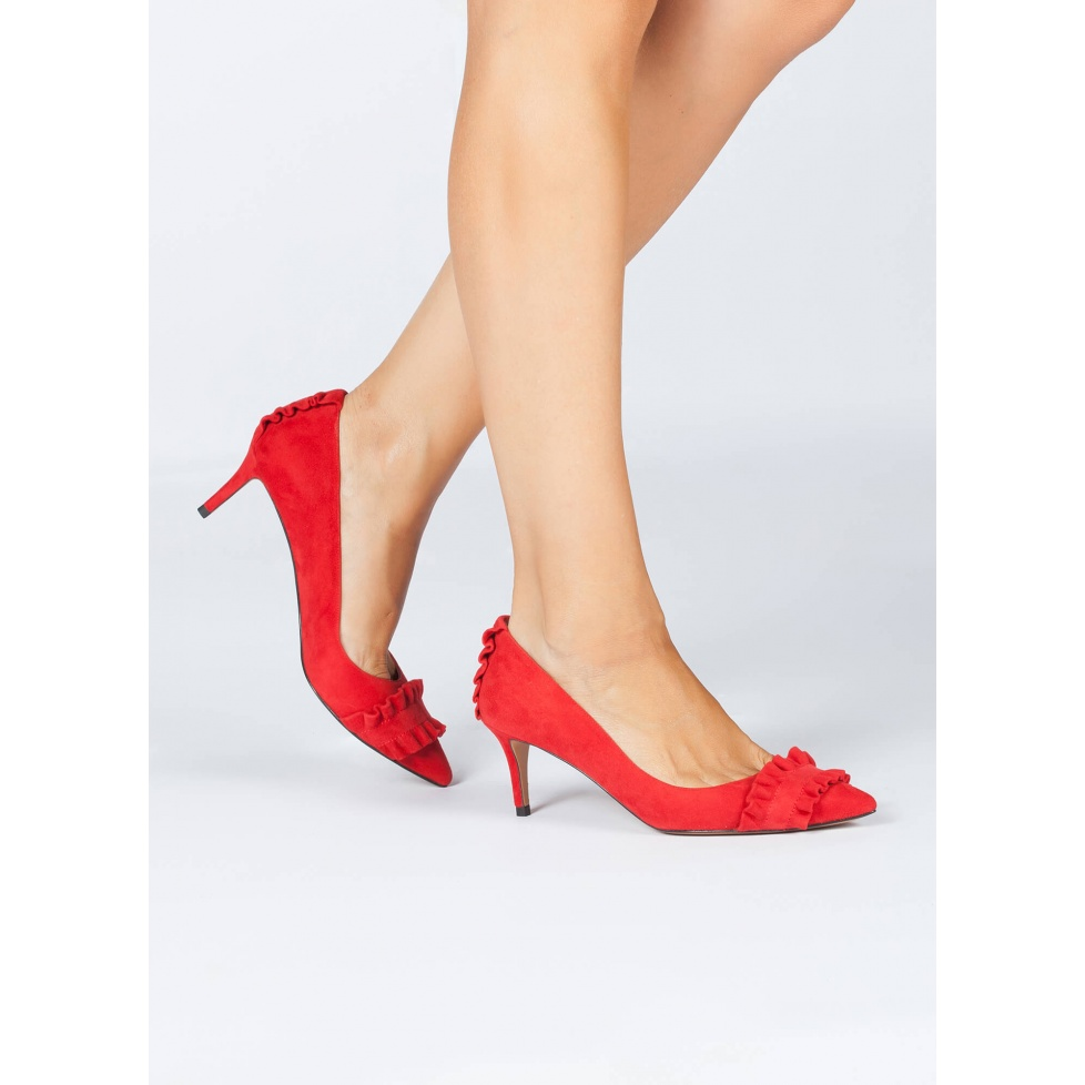 Mid heel pumps in red suede - online shoe store Pura Lopez