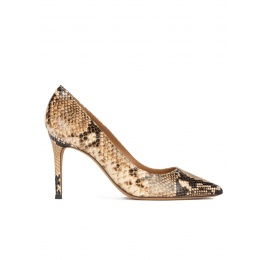 Snake-effect high heel point-toe pumps Pura López
