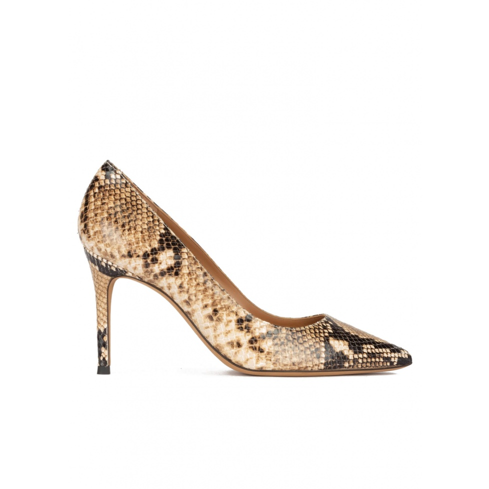 Snake-effect high heel point-toe pumps