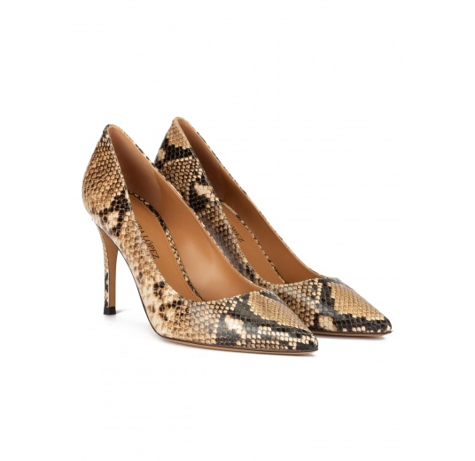 Snake-effect high heel point-toe pumps Pura L�pez