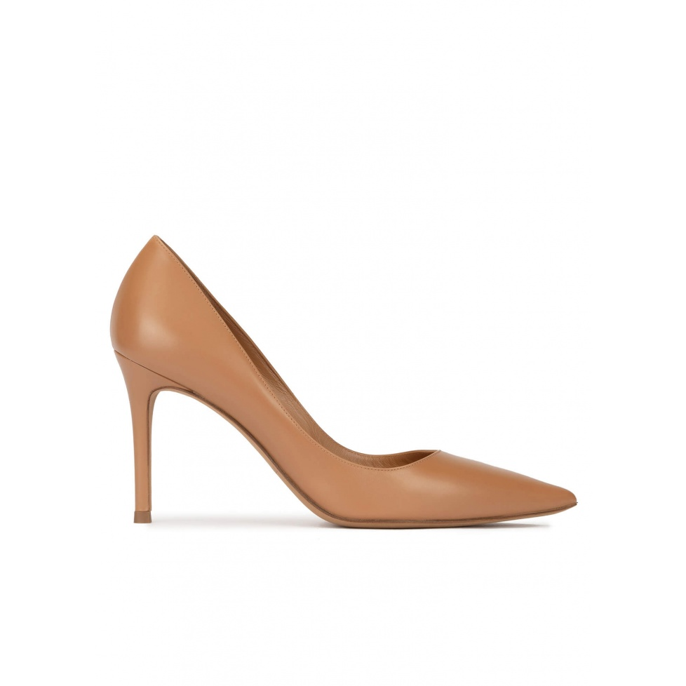 Camel leather high heel pointy toe pumps
