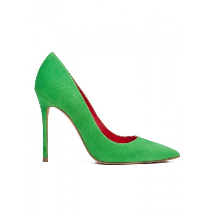 Zapatos de salón con tacón alto en ante verde