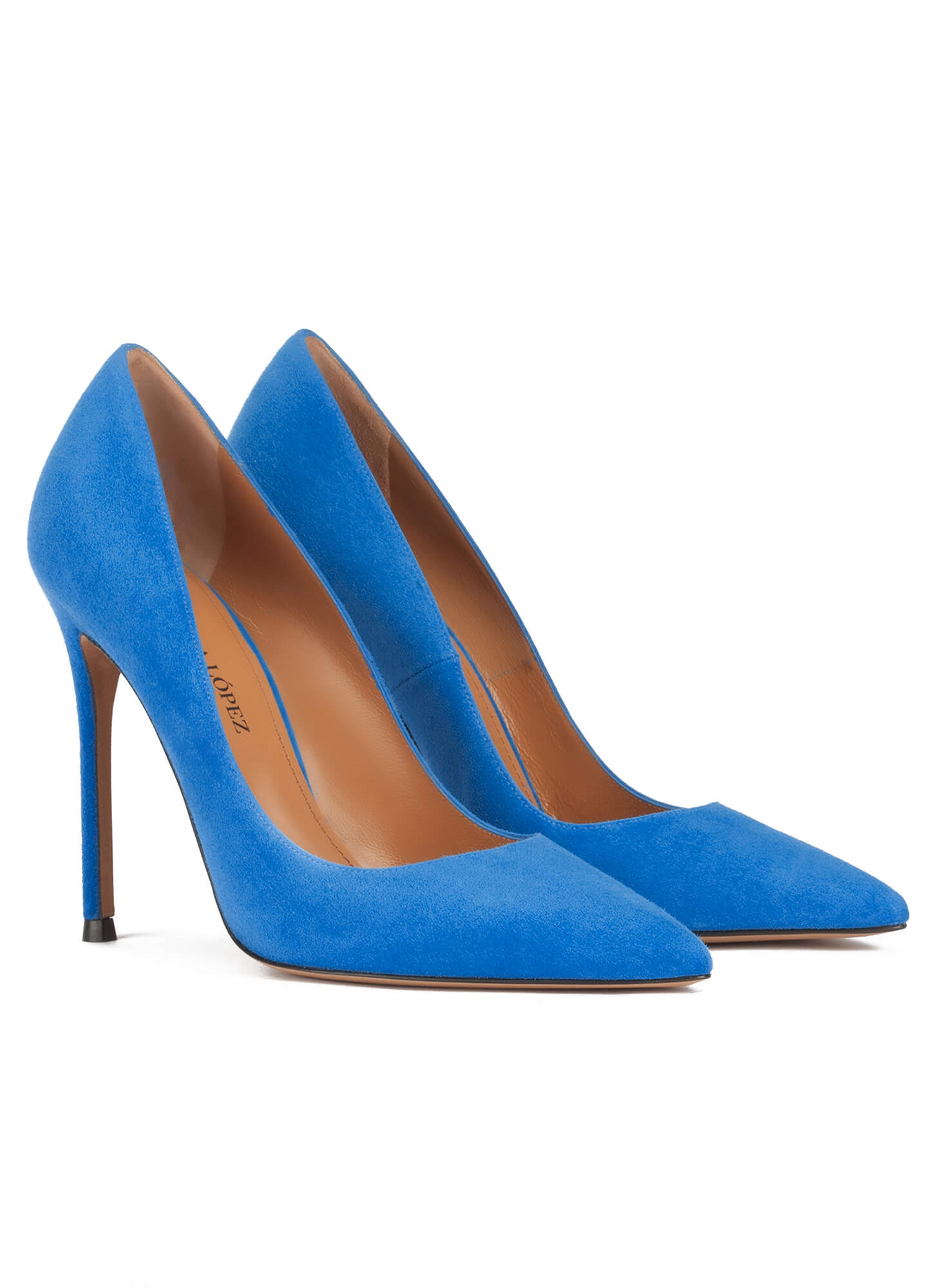 e21056104 Stiletto heel point-toe pumps in royal blue suede . PURA LOPEZ