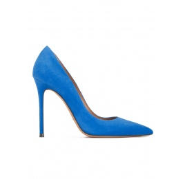 Stiletto heel point-toe pumps in royal blue suede Pura López