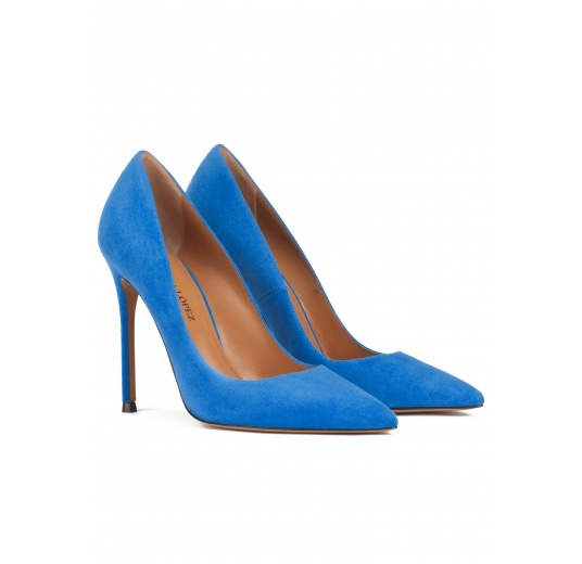 Stiletto heel point-toe pumps in royal blue suede Pura L�pez