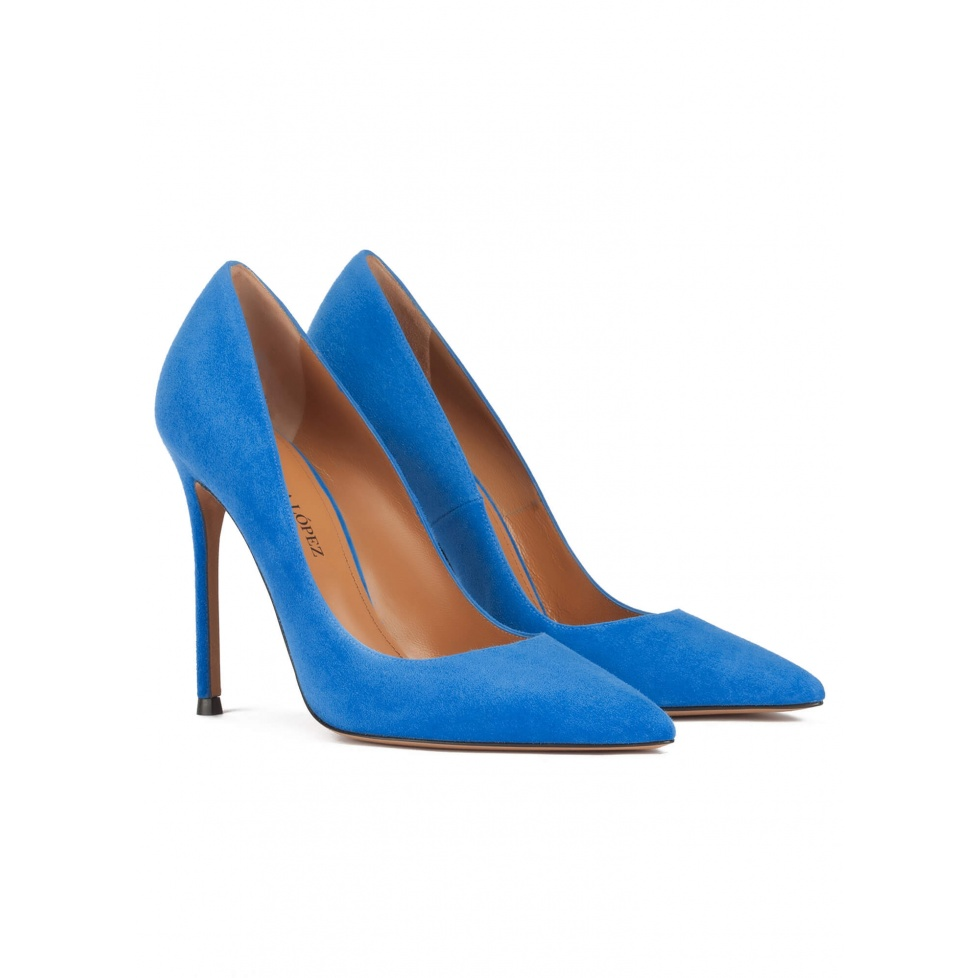 Stiletto heel point-toe pumps in royal blue suede