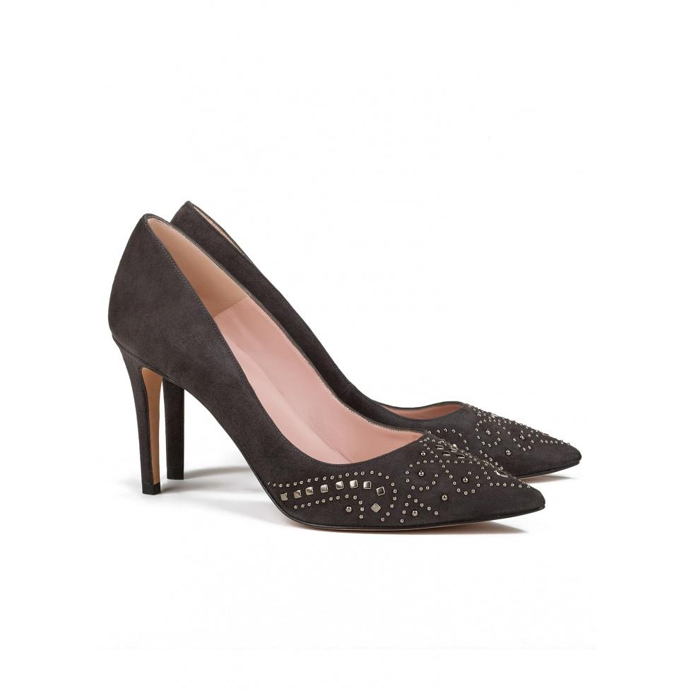 Studded high heel pumps in grey suede -online shoe store Pura Lopez