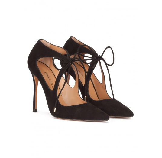 Lace-up heeled pointy toe shoes in black suede Pura L�pez