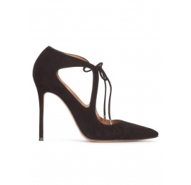 Lace-up heeled pointy toe shoes in black suede Pura López