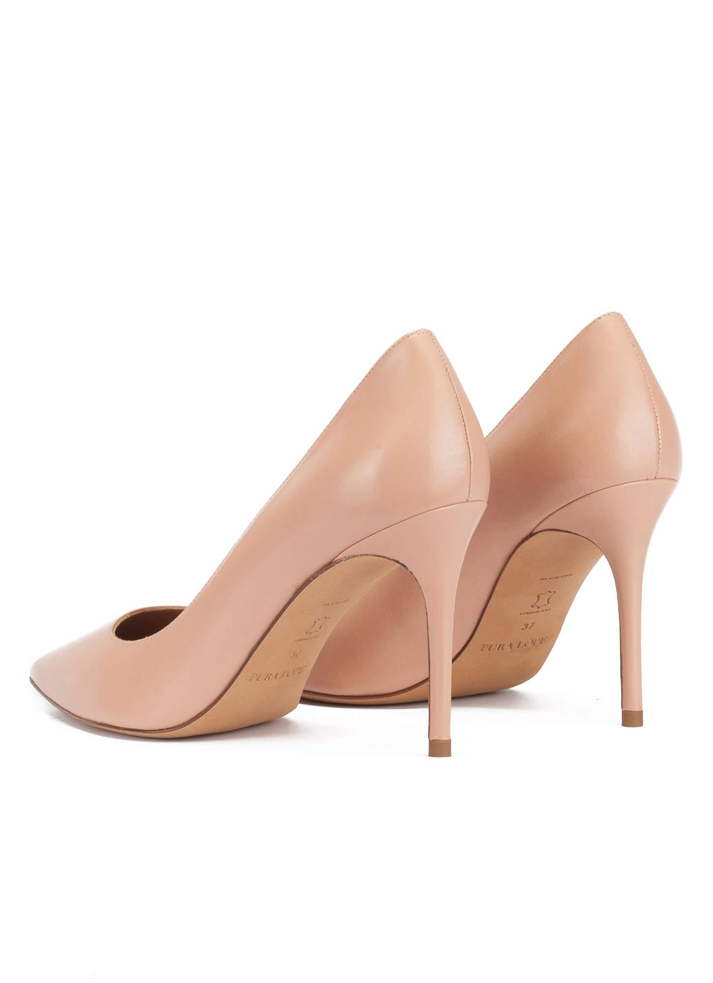 Point-toe high heel pumps in nude leather . PURA LOPEZ ef036af563bb2