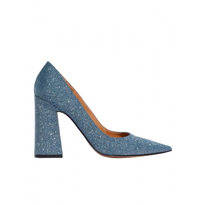 High block heel pumps in blue glitter