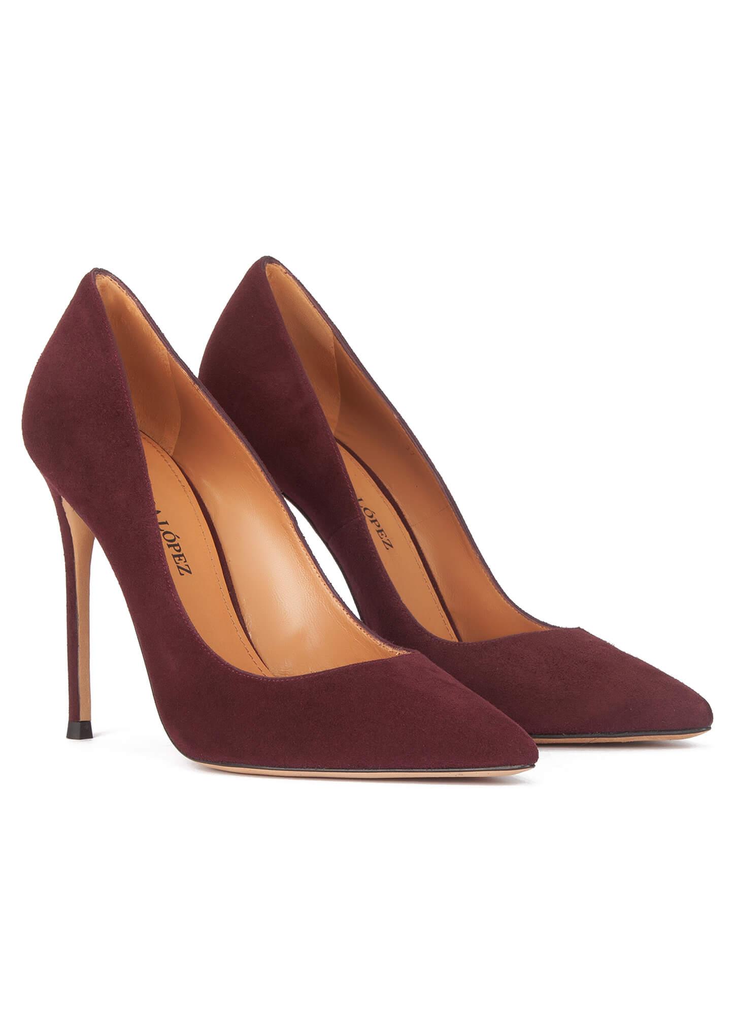 78bb01ac0 Kameron Pura López. High heel pumps in burgundy suede High heel pumps in  burgundy suede ...