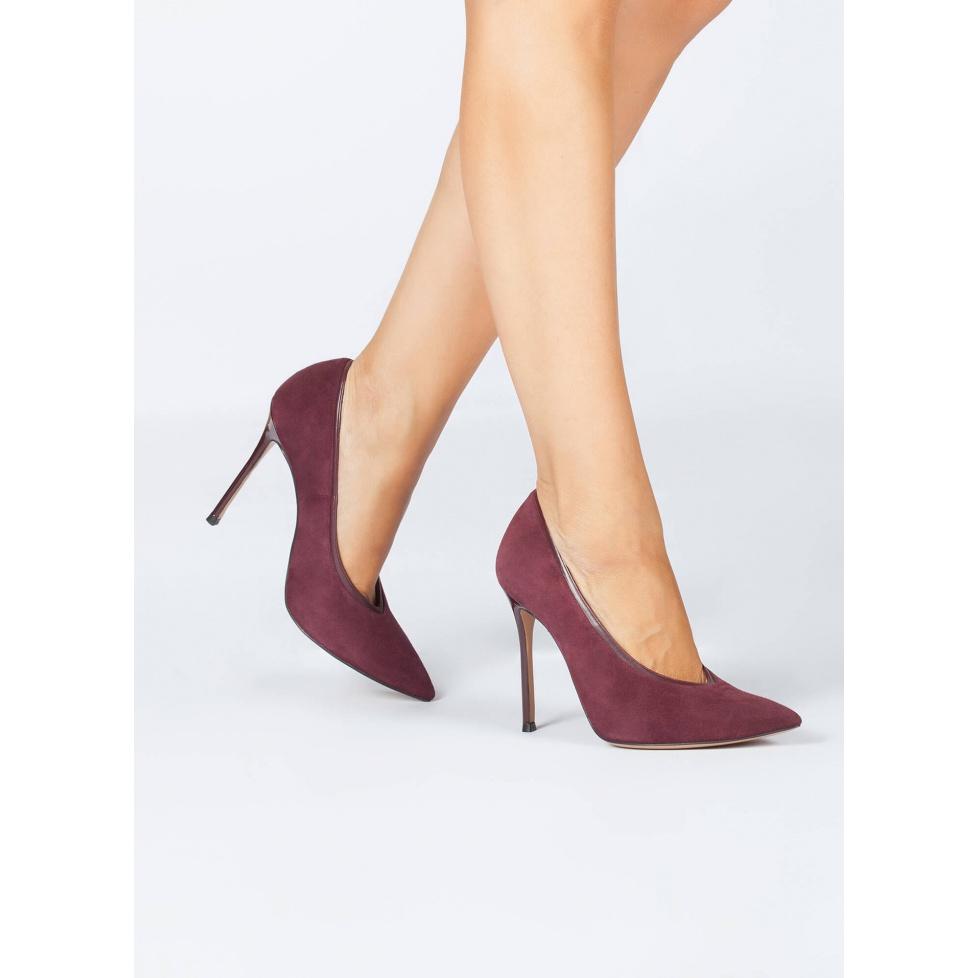 Burgundy V-cut high heel pumps - online shoe store Pura Lopez