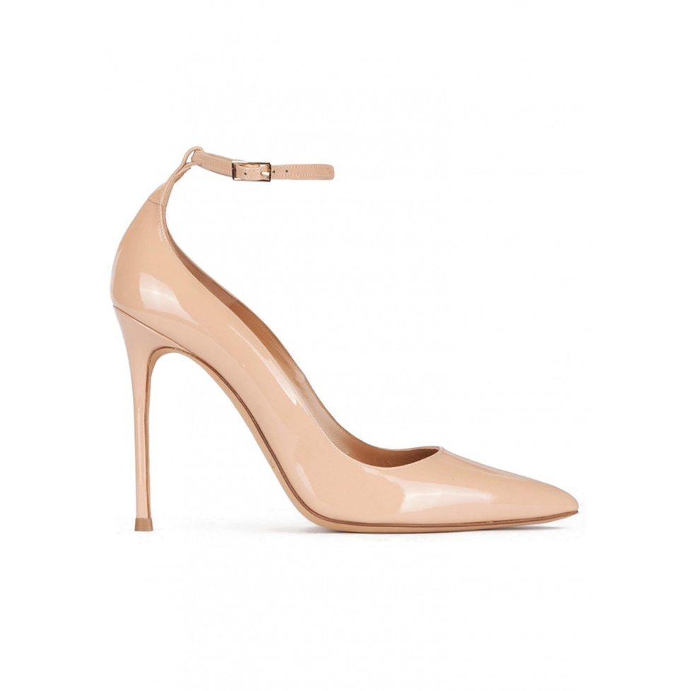Ankle strap high heel pointed toe shoes in nude patent leather