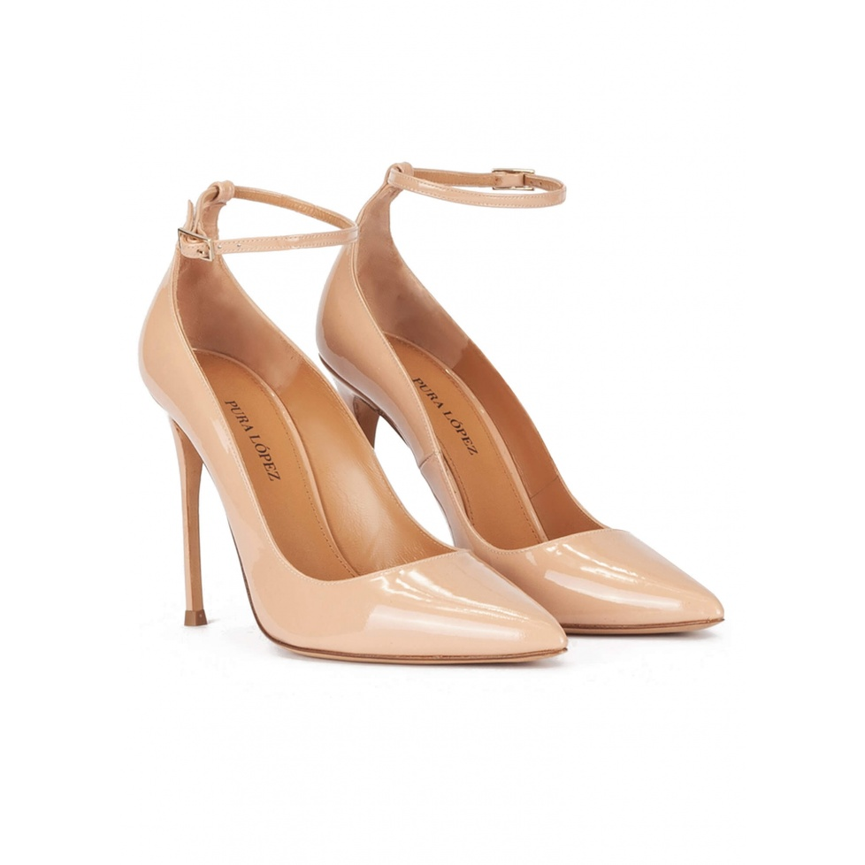 Ankle strap high heel pointed toe shoes in nude patent