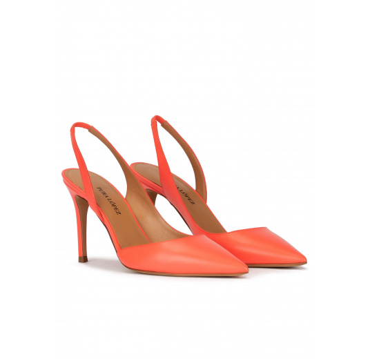 Slingback high heel point-toe pumps in coral leather Pura López