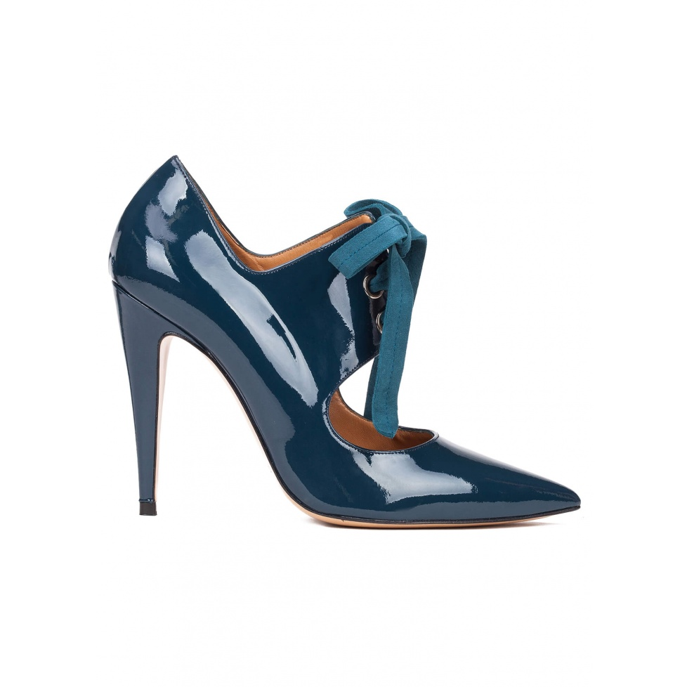 Lace-up high heel shoes in petrol blue patent leather