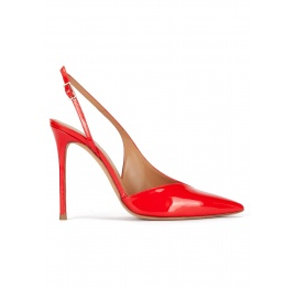 Red patent leather asymmetric heeled slingback pumps Pura López