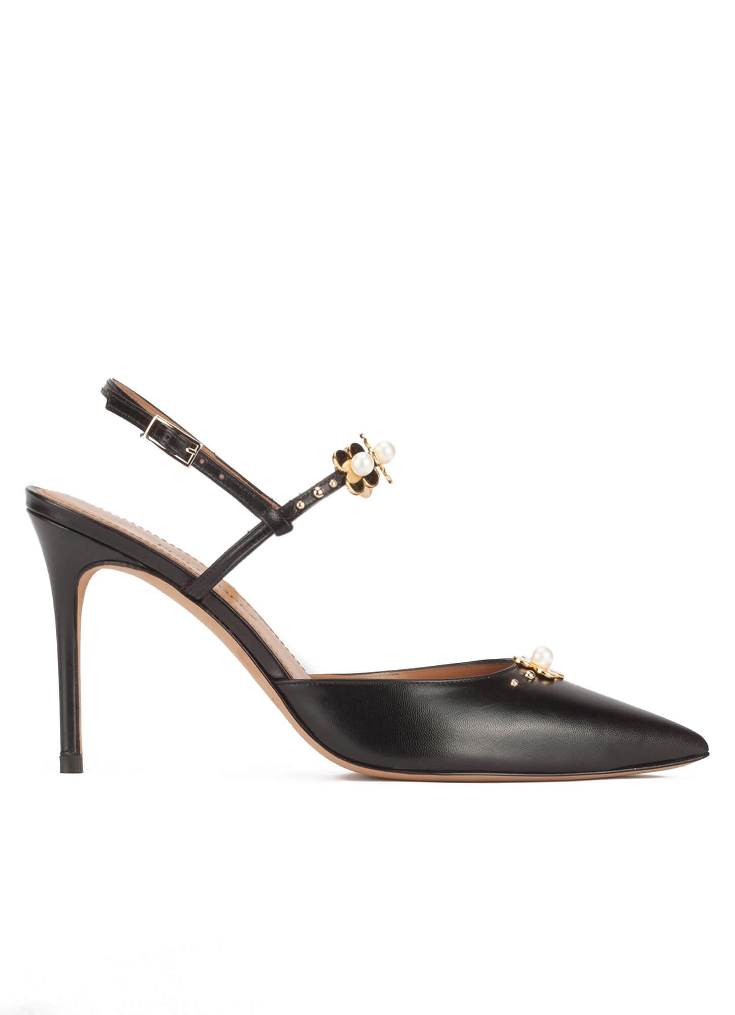 Flores Negro En Destalonados Zapatos Con Piel Color Altos Lopez Pura gwRqxBO