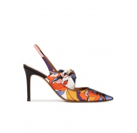 Bow detailed high heel slingback pumps in printed fabric Pura López