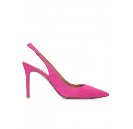 Fuchsia suede slingback heeled pumps Pura L�pez