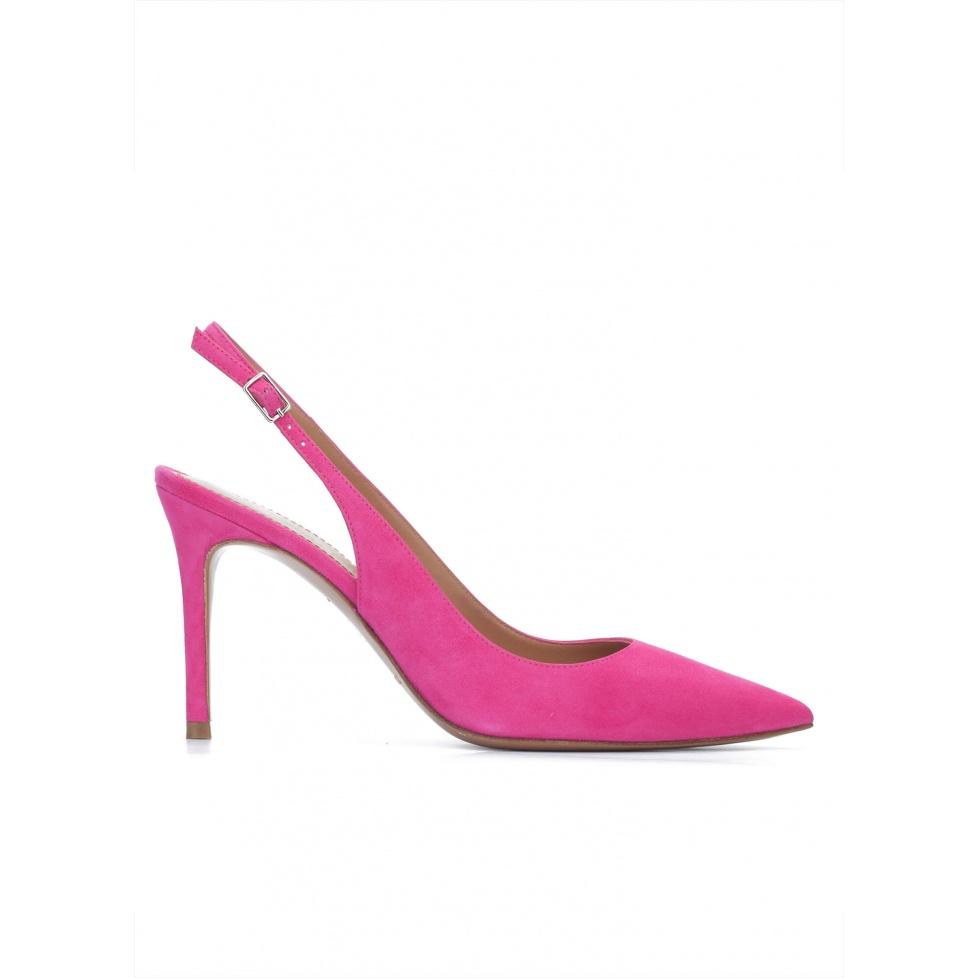 Fuchsia suede slingback heeled pumps
