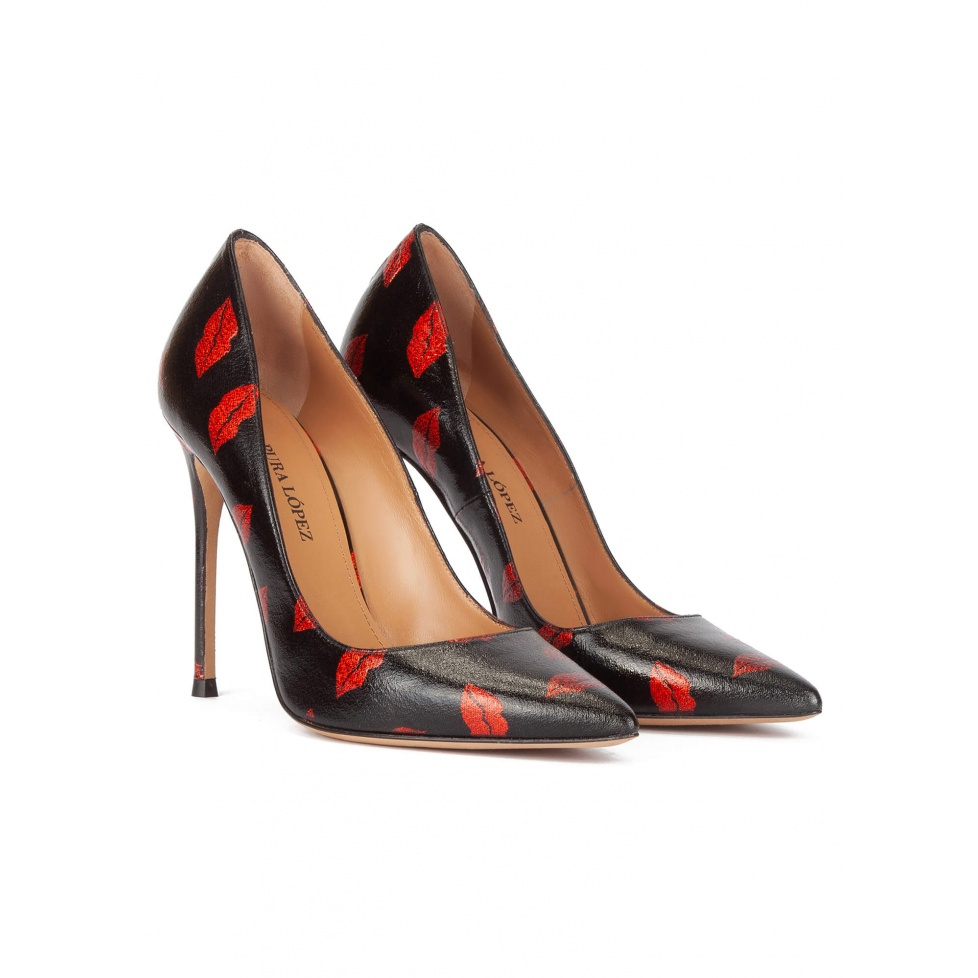 Black point-toe thin stiletto heel pumps with red kisses