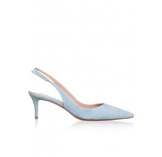 Slingback mid heel pumps in sky blue suede Pura L�pez