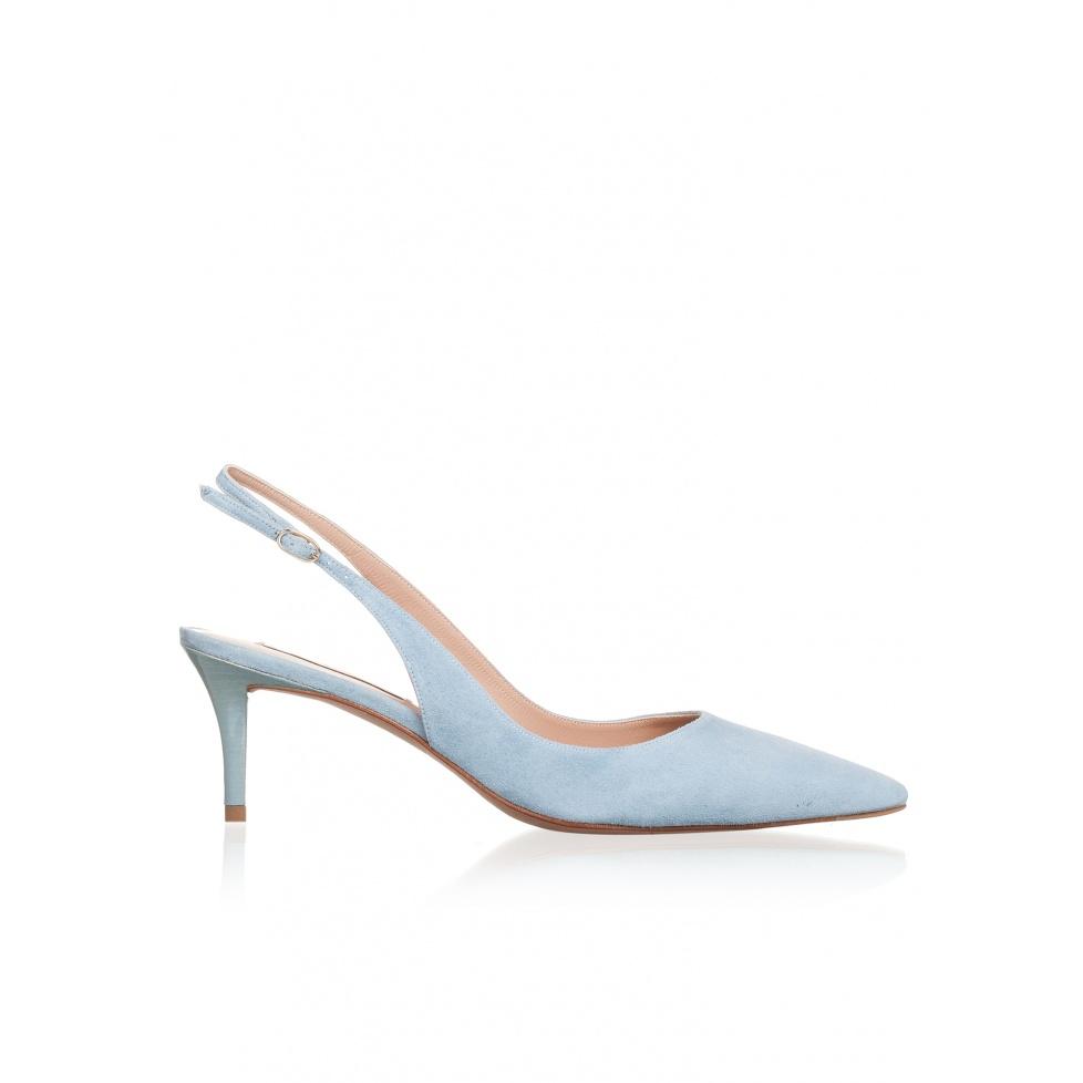 Zapatos de salón destalonados con tacón medio en ante azul cielo