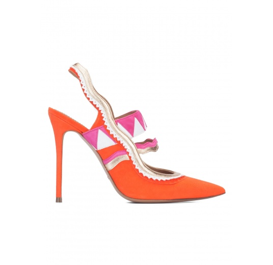 Zapatos destalonados de tacón alto en ante naranja Pura L�pez