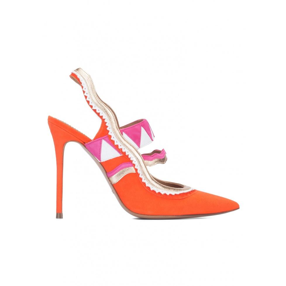Orange suede heeled slingback pumps