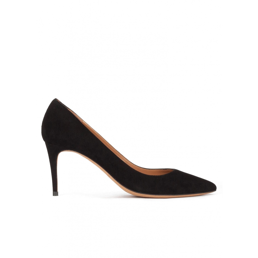 Pointy toe mid heel pumps in black suede