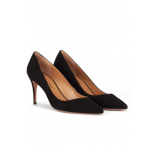 Pointy toe mid heel pumps in black suede Pura López