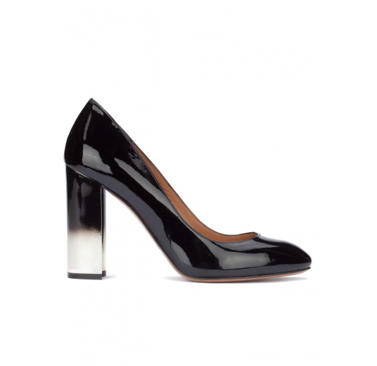 Black patent leather block heel pumps Pura L�pez