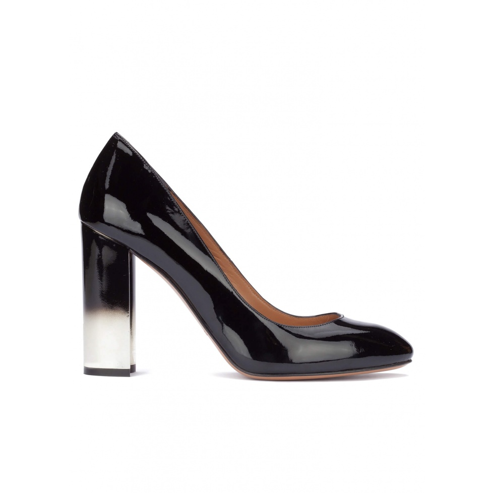 Black patent leather block heel pumps