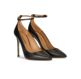 Black leather ankle strap heeled pointy toe shoes Pura López