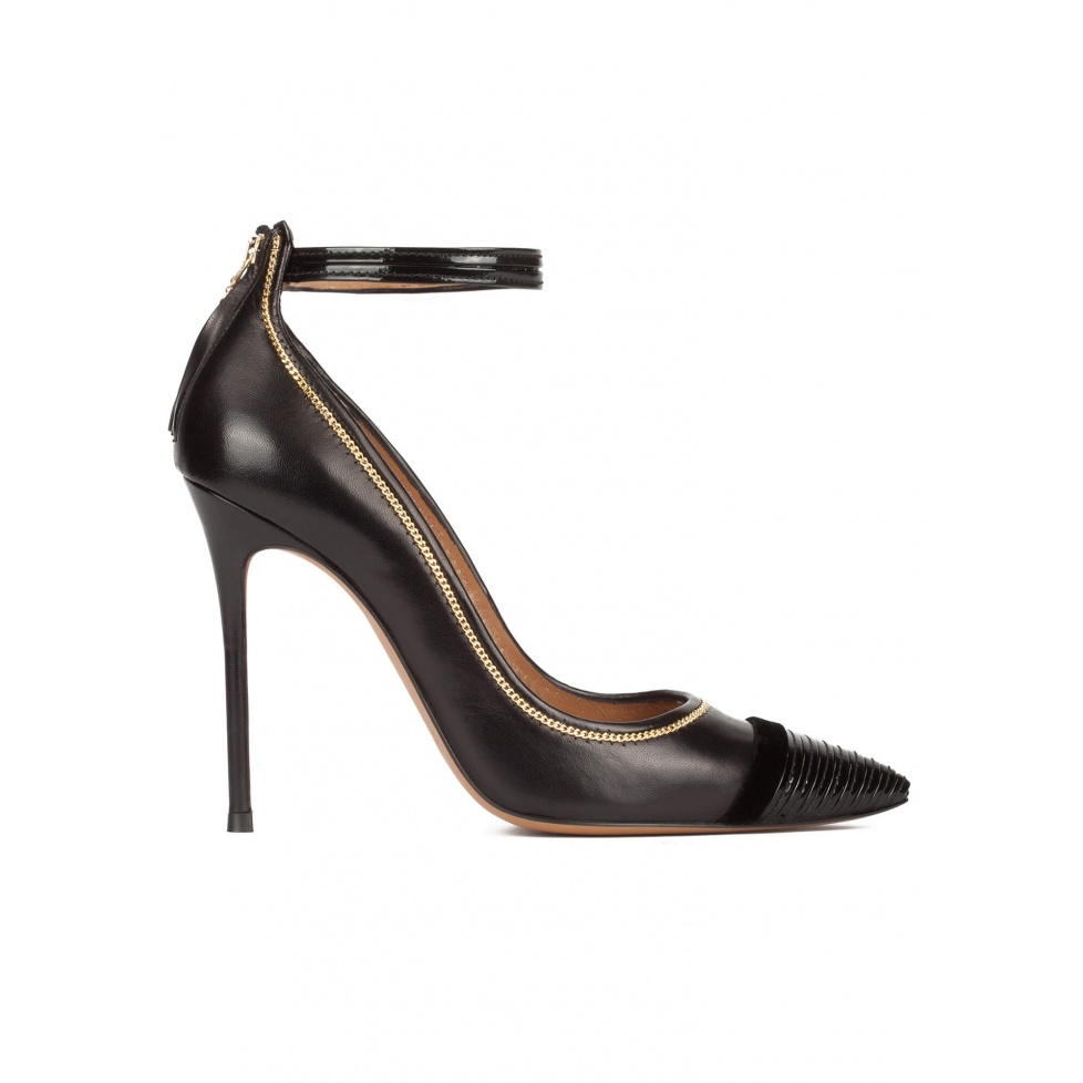Black leather ankle strap heeled point-toe shoes
