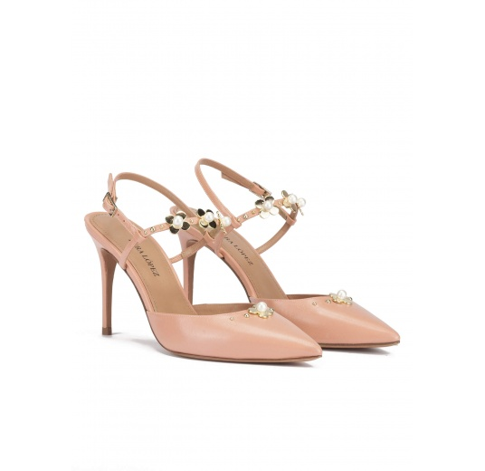 Flower detailed high heel slingback pumps in nude leather Pura L�pez