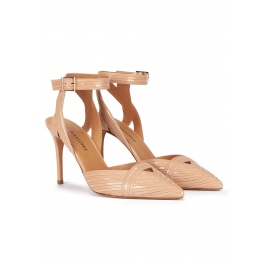 High heel slingback shoes in nude patent and leather Pura López