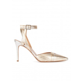 Two-tone metallic leather high heel slingback shoes Pura López