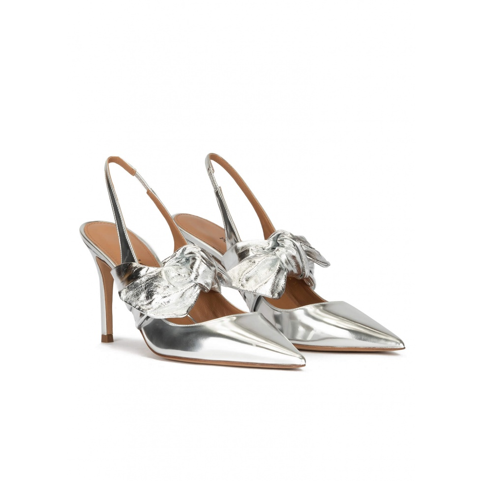 Silver metallic leather high heel slingback shoes