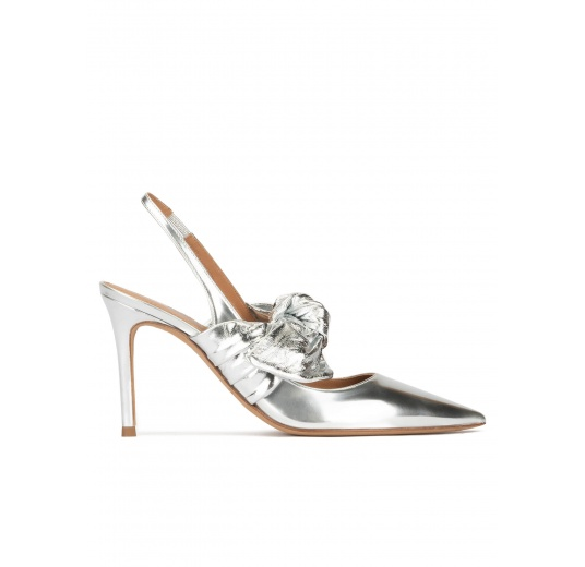 Silver metallic leather high heel slingback shoes Pura López