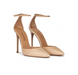 Ankle strap heeled point-toe pumps in beige leather Pura López